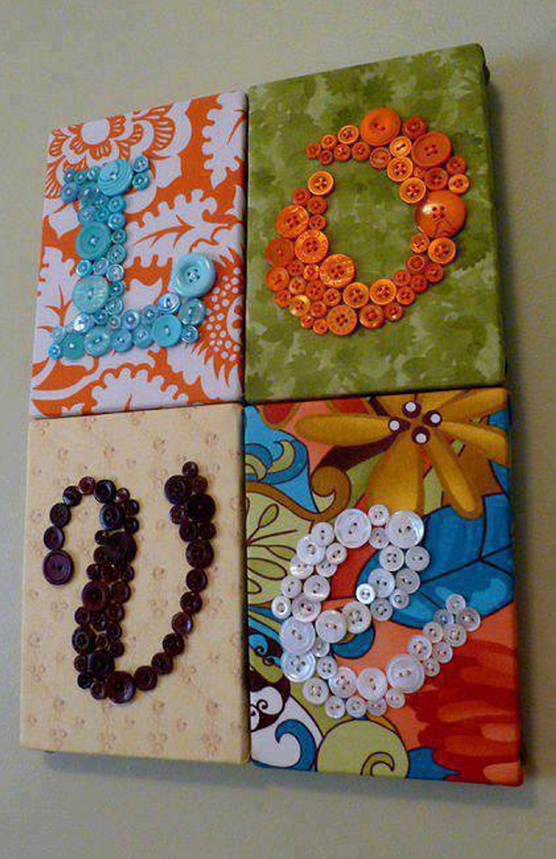 Diy crafts ideas with buttons upcycle art for Art craft wall hanging